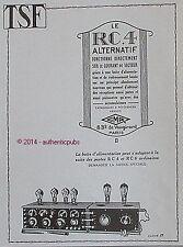 PUBLICITE LE RC 4 POSTE RADIO TSF GMR ECHO RADIO PHONO DE 1925 FRENCH AD PUB
