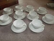 (10) Tea Cup & Saucer SETS, Carefree True China Syracuse SERENE White