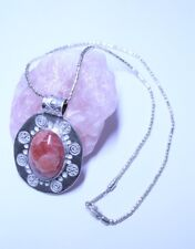 Rhodochrosite in a Sterling Silver Pendant and Chain (925)
