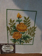 VTG ELSA WILLIAMS PREWORKED NEEDLEPOINT 100% WOOL 12 X 14 PICTURE PILLOW FLOWERS