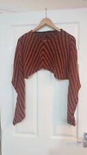"Grizas Orange & Black Medium Cropped Jumper Knit Top Lagenlook Rare Bust 40"""