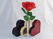Lucite Heart Shaped Bud Vase ~ For Desktop, Shelf, Table ~ Choice of Colors