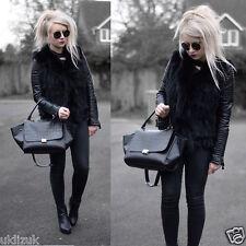 Topshop Blogger Black Faux Fur Tassel Hem Gilet Waistcoat - Size 12