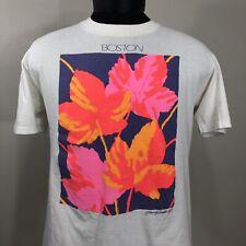 VTG 90s Boston T Shirt Single Stitch Promo Tee Medium Neon Crew Band City