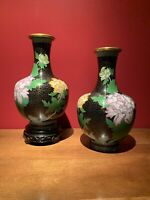 "Antique/Vintage Large Chinese China Enameled Vase  - Cloisonne/Flowers - 11"" Ht"