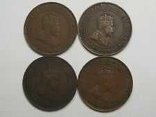 4 VF Canadian Large Cent.Edward VII w/ Full/Near Full Crown.1905,'06,'08,'09.#32