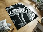 Loretta Classic Retro Style Floral Oblong Black Grey Rug in 2 Sizes Carpet