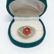 925 Sterling Silver Red Jasper Vintage Ring
