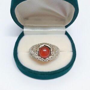 925 Sterling Silver Red Jasper Vintage Ring
