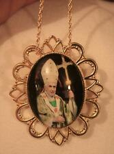 Striking Festooned Goldtone Green Accented Pope Benedict XVI  Necklace Brooch