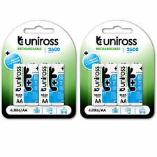 LOT 2 x 4 PILES ACCUS UNIROSS RECHARGEABLE AA LR06 1.2V 2600mAh Ni-Mh BATTERIE