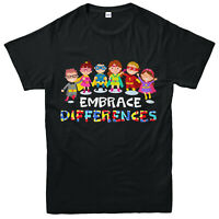 Autism T-Shirt, Embrace Differencess, I Love Autism, Adult & Kids Tee Top