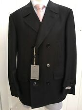 NEW CANALI Mens Wool Double Breasted Herringbone Black Pea Coat 42 R
