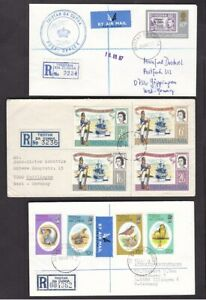 Tristan Da Cunha collection small lot registered mail covers x7 1964-1999