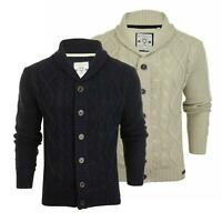 Mens Jumper Brave Soul Mens Button-up Cardigan with Shawl Neck & Cable Knit