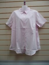 Ladies Blouse Pink Size 20 Sheego Short Sleeve Cotton Casual (g010)