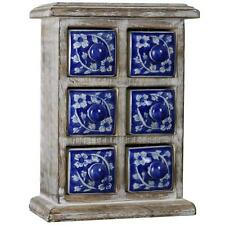 Desktop Chest of 6 Drawers Box Boxes Tabletop Jewelry Jewellery Decorative - Blu