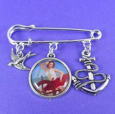 vintage rockabilly 50s nautical kitsch anchor Sailor Pin Up Girl Kilt Pin Brooch