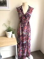 Barbarella Vintage Boutique 8 Maxi Dress Boho Wrap Sheer Patterned Flutter
