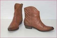 ZARA Low Boots Western Cuir Marron Clair T 37 TTBE