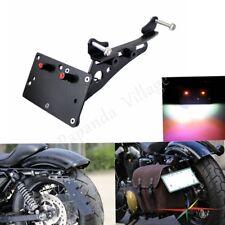 Side Mount License Plate Rear Bracket LED Number Lights Aluminum For Harley XL