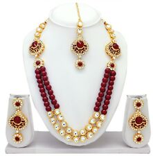 Statement Indian Bollywood Pearl Wedding Gold Plated Kundan Necklace Jewelry Set