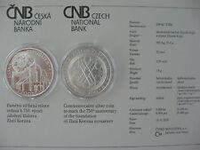 República Checa 2013 200 coronas moneda de plata coin St bu-monasterio goldenkron -