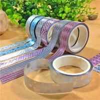 Lot 10x DIY Glitter Self Adhesive Washi Masking Tape Sticker Craft Decor 15mmx3m