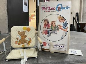 Vintage Graco Tot Loc Lock Clip On Table Top High Chair Booster Seat Bear Hearts