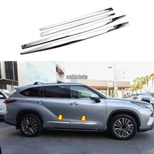 4X For 2020 2021 Toyota Highlander Chrome Side Body Door Side Molding Cover Trim