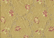 Designer Fabric Gold Embroided Poly Silk Drapery and Upholstery