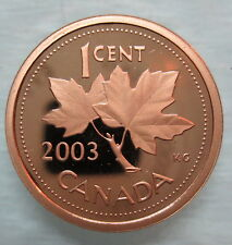 2003 CANADA 1 CENT HEAVY CAMEO PROOF PENNY COIN