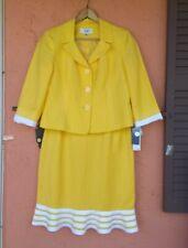 NWT LE SUIT 2-Piece Skirt Suit Size 10 PETITE Jacket Skirt LINEN BLEND