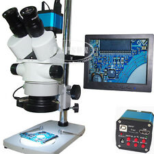 3.5X-90X trinocular simul-Focal Microscopio + 1080P HDMI USB Camera + IPS Monitor