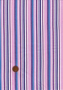 100% Cotton Fabric Shirting Pink Turquoise Purple Stripe Patchwork Craft