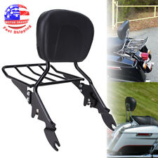 Black Detachable Backrest Sissy Bar Luggage Rack w/ Pad For Harley Touring 09-19