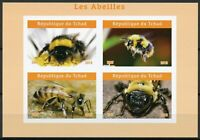 Chad 2019 MNH Bees Bee 4v IMPF M/S II Abeilles Insects Stamps