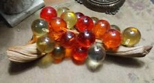 VINTAGE RETRO ACRYLIC LUCITE GRAPES CLUSTER AMBER MIX DRIFTWOOD DECOR