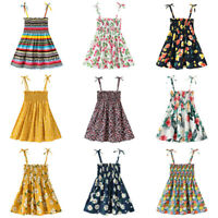 Toddler Baby Kids Girls Flowers Ruched Strap Summer Sleeveless lPrincess Dress