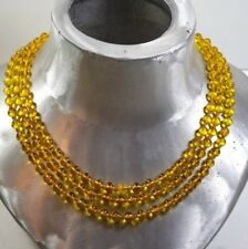 VINTAGE HAND KNOTTED POURED YELLOW GLASS BEAD  NECKLACE 56'' LONG