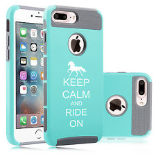 For iPhone X 5s 6 6s 7 8 Plus Dual Shockproof Hard Case Keep Calm Ride On Horse