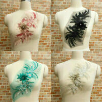 3D Flower Lace Embroidery Bridal Applique Pearl Beaded Tulle Wedding Dress DIY