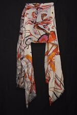 Cream Red Tangerine Charcoal & Grey Flowers & Butterflies Print Sheer Scarf S187