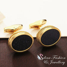 18K Yellow Gold Plated Simulated Black Agate Oval Glitter Shiny Men`s Cufflinks