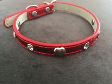Red Dog Collar With Studs Heart Christmasy Puppy Cat 20-28cm XXS