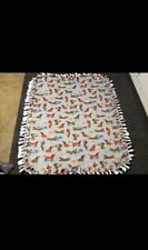 Dachshund Pattern Fleece Blanket - Double Layer Tied - 55� X 69�