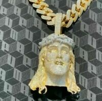 """14K Yellow Gold Over Unique """"God Jesus"""" Ice Out Diamond Charm Pendent"""