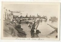 "RPPC ""Fishing in the Bay"" Indonesia? Long Canoes, Vintage Real Photo Postcard"