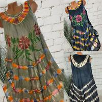 Plus Size Women Sleeveless Floral Boho Dress Ladies Summer Beach Tunic Sundress