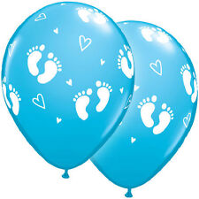 "10 pc 11"" Blue Boy Footprints Latex Balloon Decoration Baby Shower Welcome Foot"